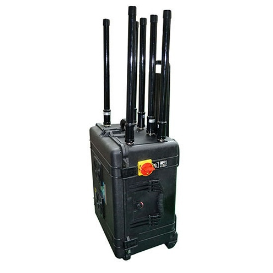 High power drone UAV jammer, draw bar box remote control signal blocker built-in battery